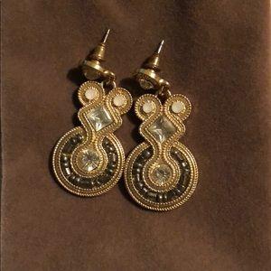 Gold statement dangly earrings